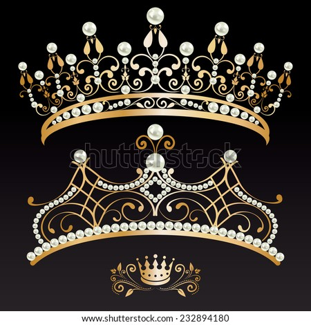 set collection of two beautiful luxury golden with pearls feminine tiaras and crown on black lighted background. vector illustration.  - stock vector