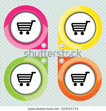 Set collection of vector shopping colorful cart icons. - stock vector