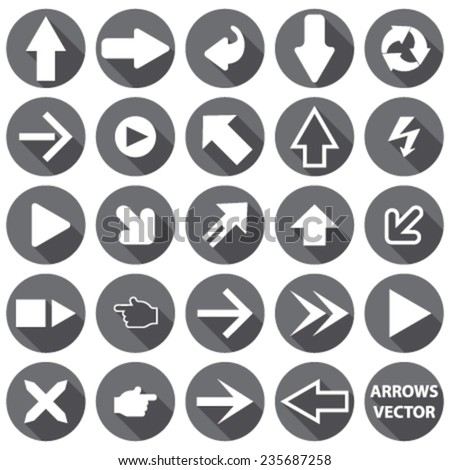 set, collection of white arrows, silhouettes (signs), on a white background. vector. illustration