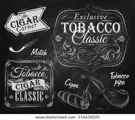 Set collection on tobacco and smoking a pack of cigarettes vintage tobacco cigar, pipe, all smoking stylized drawing with chalk on a blackboard - stock vector