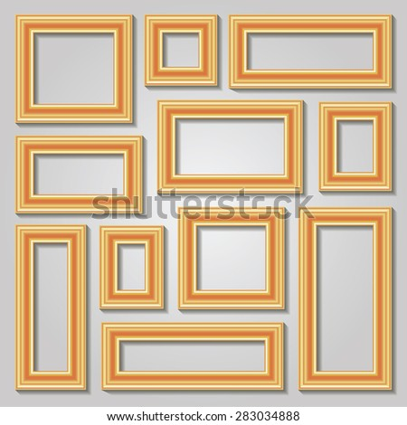 Set collections of golden empty frames on the wall with shadows for your art, text or photo. Vector illustration. - stock vector