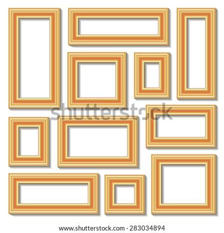 Set collections of golden empty frames with shadows for your art, text or photo. Isolated on white background. Vector illustration. - stock vector