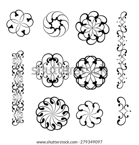 Set collections of lacy elements. Ornamental black designs isolated on white background. Vector illustration. Can use for birthday cards, wedding invitations, logos, monograms