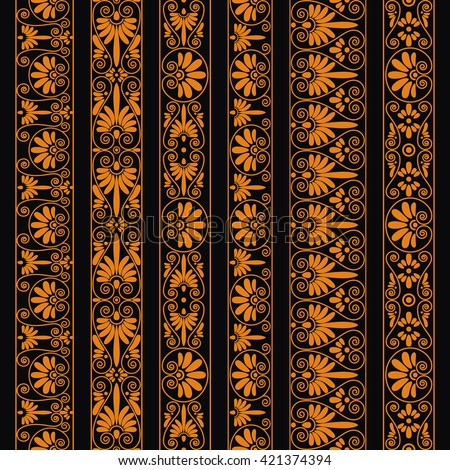 Set collections of old greek ornaments. Orange old style borders on the dark background. Ethnic patterns. Vector illustrations. - stock vector