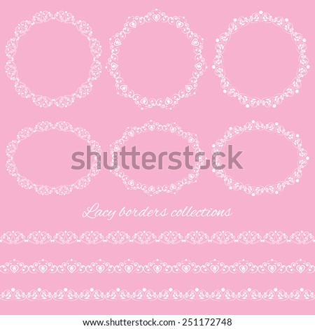 Set collections of vintage lacy borders and frames. White cute elegant elements isolated on pink background. Vector illustration - stock vector