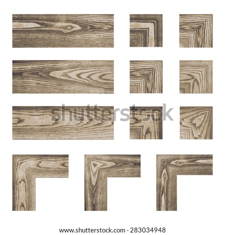 Set collections of wooden material elements. Vector illustration. - stock vector