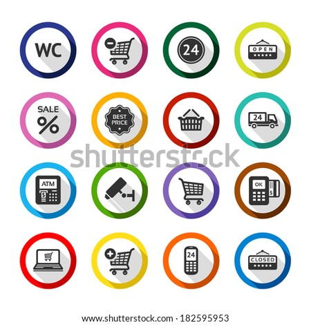 Set color flat buttons, symbols with shadow. Vector illustration 10eps