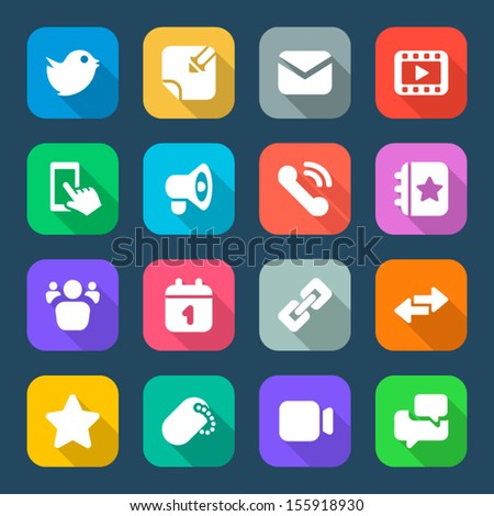 set color flat icons for social networks