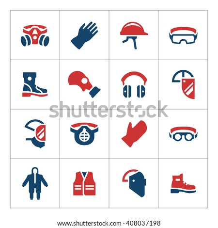 Set color icons of personal protective equipment