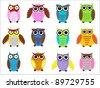 Set color owls. Vector illustration - stock vector