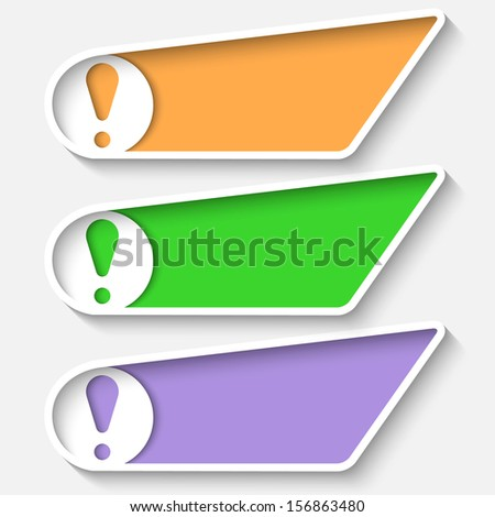 set colored box for text and exclamation mark - stock vector