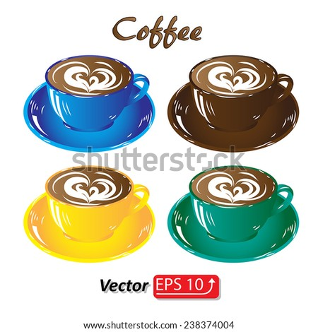 set colored cups of coffee chocolate brown blue yellow green,  isolated on white background icon vector illustration - stock vector