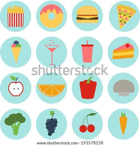 Set colored of food icons in flat design, eat, healthy and unhealthy, vegetables, fruit, fast food - stock vector