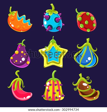 Set Colorful fantasy fruits, vector illustration - stock vector