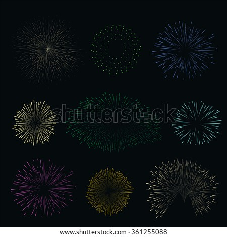 Set colorful fireworks on dark background. Night sky salute for festival in vector. Blue, yellow, green, pink and orange collection explosion.