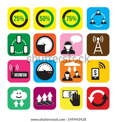Set colorful icons: it business computer social media - stock vector