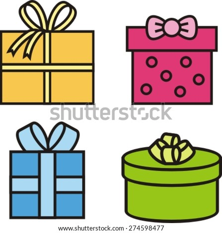 set  colorful icons of gift boxes, vector illustration