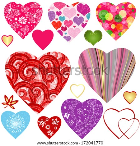 Set colorful valentine hearts with curls, balls, strips and butterflies isolated on white (vector wes 10)