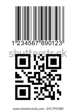 set consisting of a bar code and QR code. - stock vector
