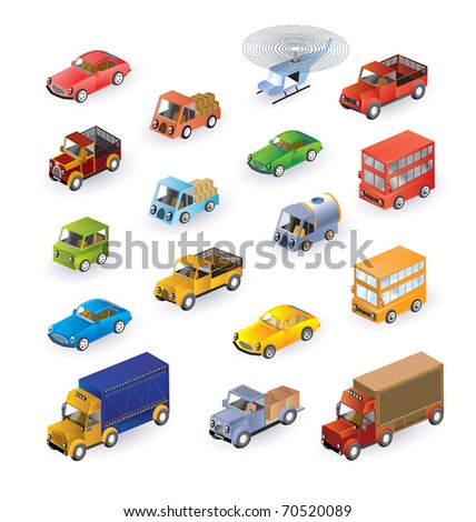Set consisting of vehicles in the isometric - stock vector