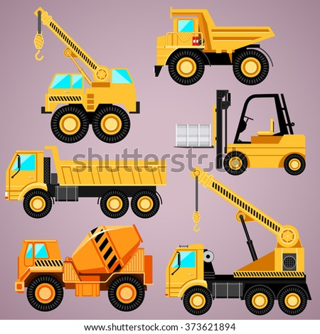 Set construction equipment for different purposes. Six machines. - stock vector