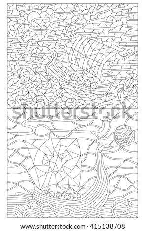 Set contour illustrations in the stained glass style, vintage boats on the background of sea and sky, the dark outline on a white background - stock vector