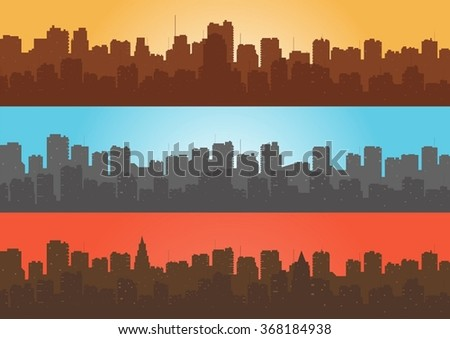 Set, contour of city with a different background. - stock vector