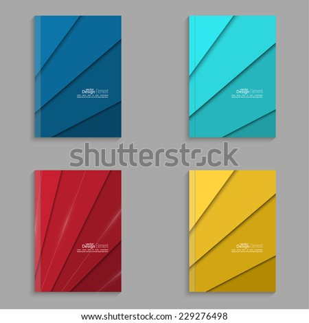Set covers for magazine of colored stripes. For book, brochure, flyer, poster, booklet, leaflet, postcard, business card, annual report. vector. abstract background. blue, turquoise, red, yellow - stock vector