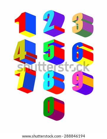 Set Crazy colorful 3D numbers. Vector illustration. - stock vector
