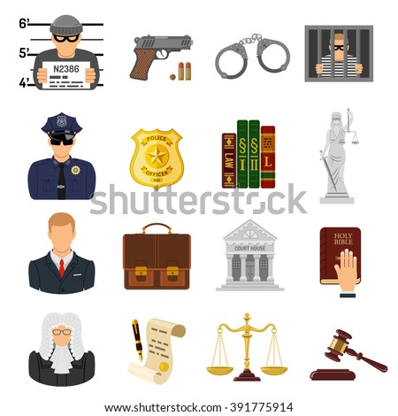 Set Crime and Punishment Flat Icons for Poster, Web Site, Advertising like Thief, Policeman, Lawyer, Judge, Handcuffs, Themis and Court House.
