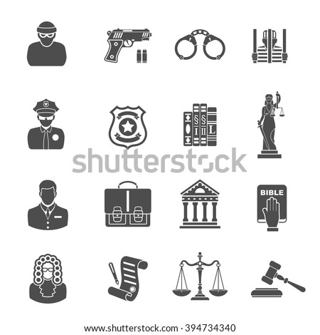 Set Crime and Punishment Icons for Poster, Web Site, Advertising like Thief, Policeman, Lawyer, Judge, Handcuffs, Themis and Court House.