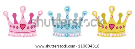 set crowns for princess, pink, blue and gold - stock vector