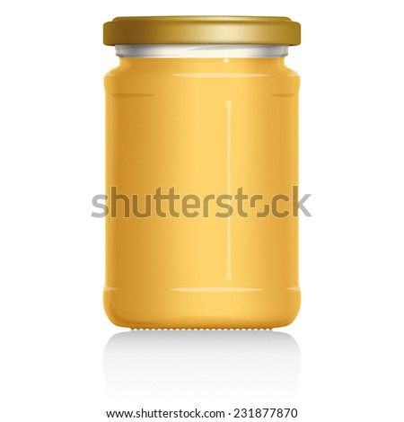 Set Crystalised Honey Jar without label, vector visual illustration, Drawn with mesh tool. Fully adjustable & scalable. - stock vector