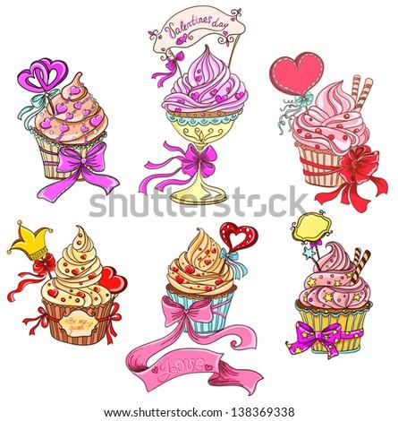 Set Cupcakes - stock vector