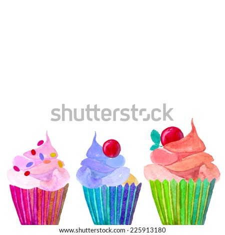 Set cupcakes border. Hand painted watercolor desserts. Vector isolated background. - stock vector