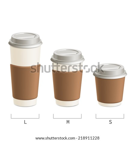 Set cups of coffee in three sizes.  Isolated on white background. - stock vector