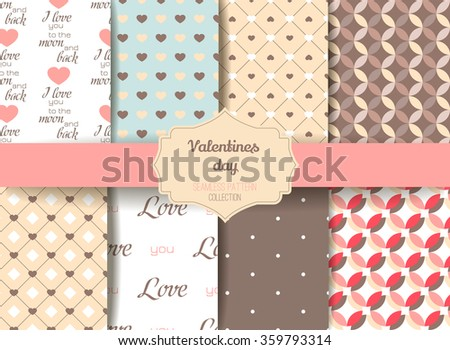 Set Cute retro abstract seamless pattern.Perfect for decoration postcards, brochures, textiles or paper packaging.Ideal for Save The Date, baby shower, valentines day, birthday cards, invitations - stock vector