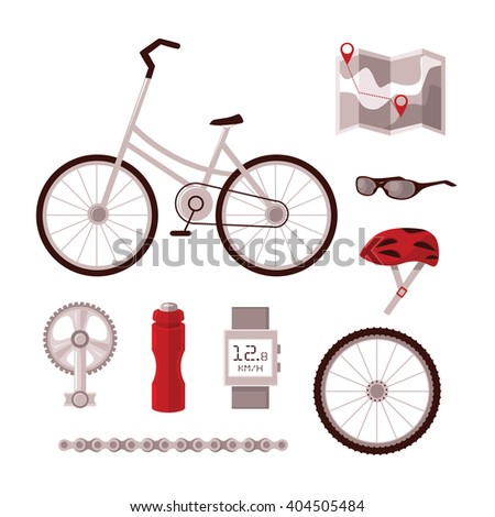 Set cyclist vector set for cycling, bicycle, pedal, chain, wheel, sports clothing, map, Recker, all led to infographics and information on cycling in the city. - stock vector