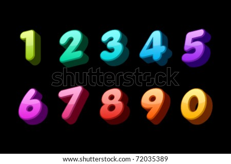 Set 3d colorful numbers - stock vector