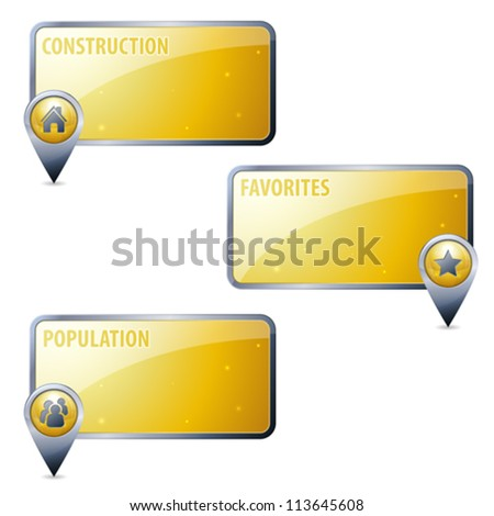 Set 3D Map Pointers with Frames and Icons - Home, People, Favorite, isolated. Easily Change the Color - stock vector