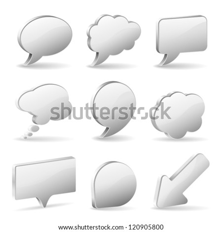 Set 3D Speech and Thought Bubbles and Arrow, easy to change colors, vector illustration - stock vector
