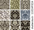 Set damask wallpapers - stock vector