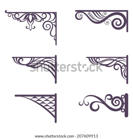 set decorative vintage forged brackets for street signboard silhouettes isolated on white background vector - Decorative Brackets