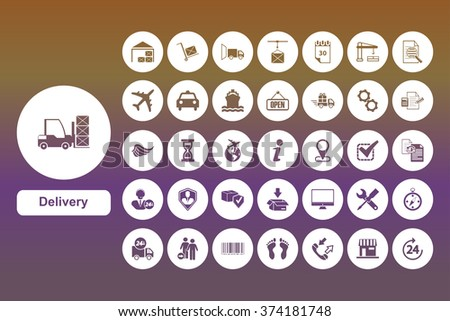 Set Delivery warehouse icons for web and user interface design - stock vector