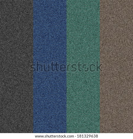 Set denim texture, vector background - stock vector