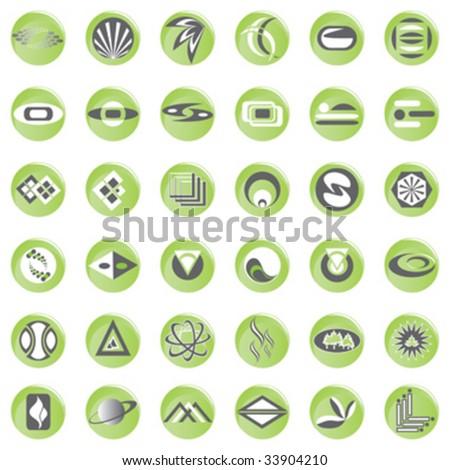 set design elements, button design - stock vector