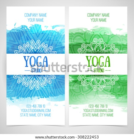 Set design template brochures cards invitations stock vector set design template brochures cards invitations flyers for a yoga studio with watercolor stopboris Gallery