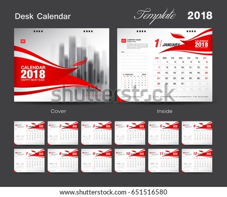 Set Desk Calendar 2018 Template Design Stock Vector 651516580