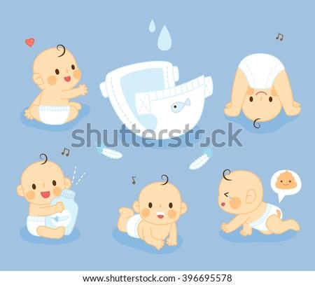set Diaper Baby - stock vector