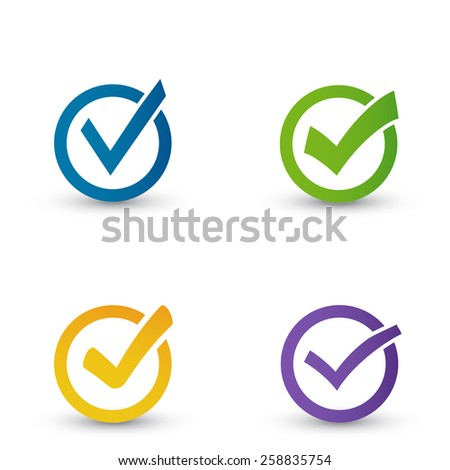 Set  different grey vector check marks. - stock vector